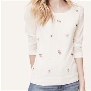 Ann Taylor LOFT Petite White Sweater + Pink Jewels